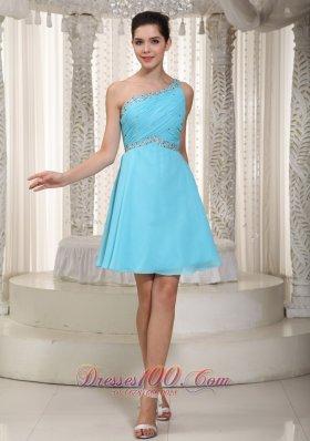 Asym One Shoulder Beading Prom Dress Aqua