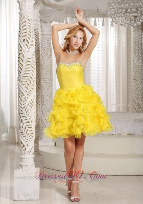Winding Ruffles Prom / Cocktail Dress Beaded Bust