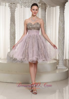 Leopard and Organza Prom Dress Knee-length