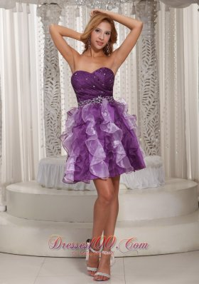 Prom Dress Cocktail Style Ruffles Two Tonal Purple
