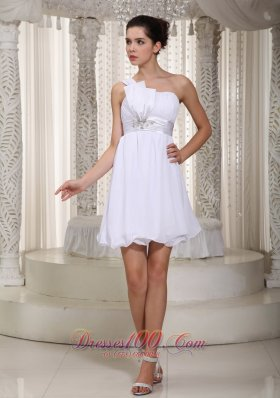 White Empire One Shoulder Mini-length Prom Dress