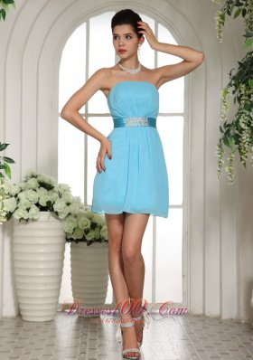 Baby Blue Ruched Bust Belt Homecoming Dress