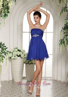 Peacock Blue Empire Beading Prom Dress Mini-length