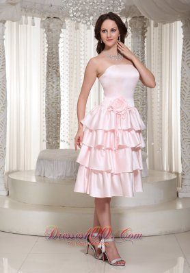 Ruffles Layered Homecoming Dress With Tea-length