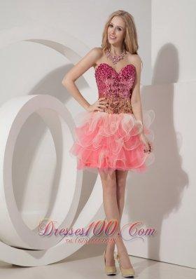 Two Tonal WatermelonCocktail Dress Beaded Bodice