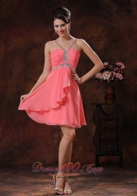 Beaded V-neck Straps Back Prom Dress Empire
