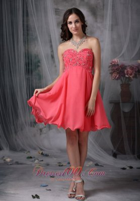 Cocktail Dress Coral Princess Beading Mini-length