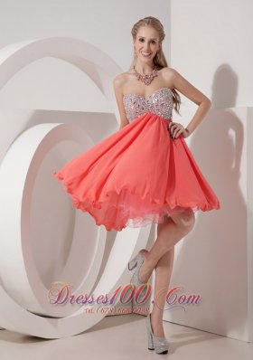 Watermelon Empire Homecoming Dress Beading Mini-length