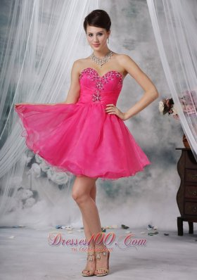 Hot Pink A-line Beading Prom Dress Sweetheart Mini