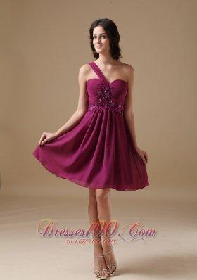 -line One Shoulder Mini Beading Cocktail Dress