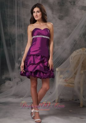 Cocktail Dress A-line Taffeta Beading Mini Ruffles