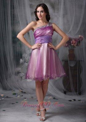 One Shoulder Homecoming Dress Beading Mini