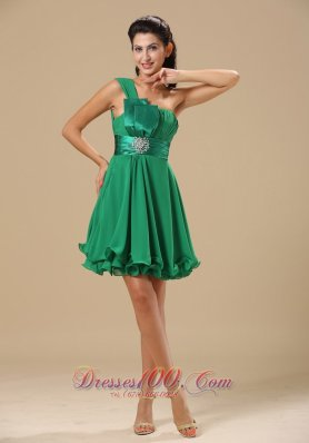 One Shoulder Bow Green Prom / Homecoming Dress