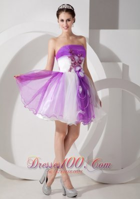 Purple and White Cocktail Dress Flowers Mini