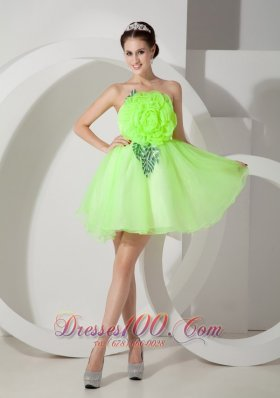 Flowers Front Bodice Short Prom Homecoming Dress