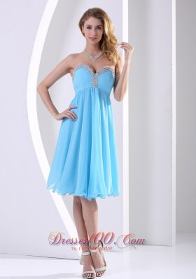 Aqua Knee-length Holiday Dress For Prom Beaded