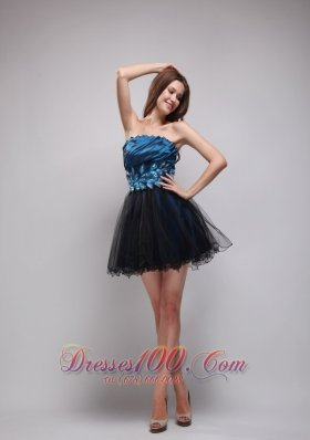 Navy Taffeta and Black Organza Prom Party Dres Mini