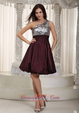 One Shoulder Mini Sequins Prom Homecoming Dress