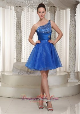 One Shoulder Beaded Homecoming Dress For Party