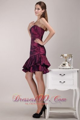 One Shoulder Knee-length Taffeta Ruffles Prom Dress