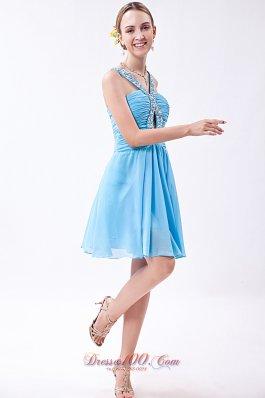 Empire V-neck with Keyhole Prom Dress Beading Mini