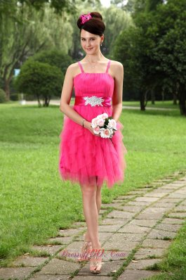 Beaded Sashes Prom / Homecoming Dress Spaghetti Straps