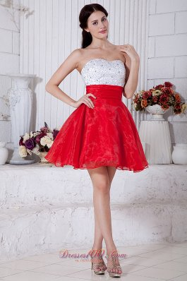 Red and White Prom / Homecoming Dress Beading Mini