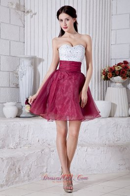 Cocktail Dress Beading Mini Burgundy and White