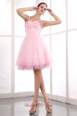 Spaghetti Straps Prom Graduation Dress Tulle Beading Knee-length