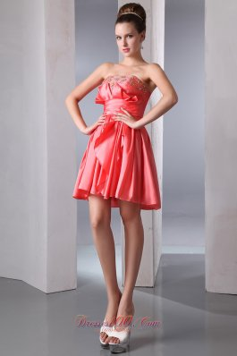 Watermelon Strapless Short Prom Dress Beading Mini