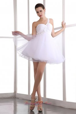 Single Strap Crossed Bust Prom Dress Beading Mini