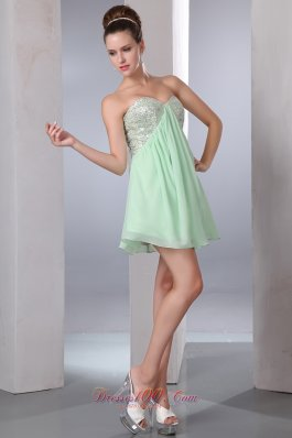 Apple Green Empire Sequin Mini Prom Homecoming Dress