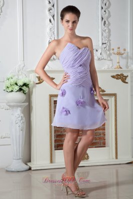 Prom Dress Knee-length Hand Made Flowers Lilac