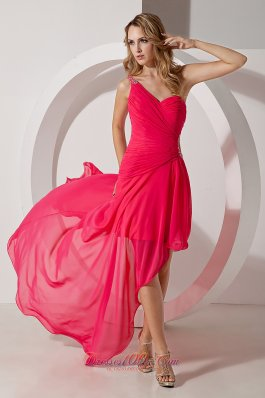 Short Front Long Back One Shoulder Prom Party Dress