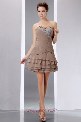 Short Prom Dress BeadingSequins Layered Prom Gowns