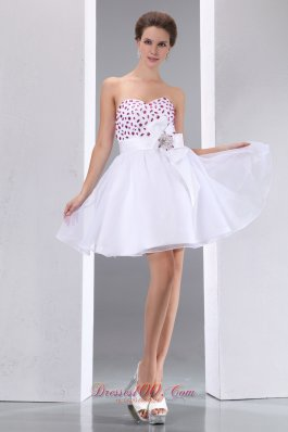 Red Beading White Prom Party Dress Mini Taffeta and Chiffon
