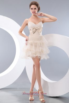 Champagne Bowknot Short Prom / Homecoming Dress Straps