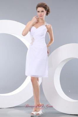 Column Short Prom / Homecoming Dress Appliques One Shoulder