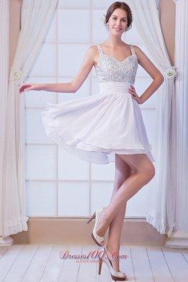 Cocktail Dress Beaded Straps Mini White