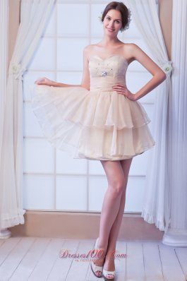 Champagne Prom Dress Beading Mini