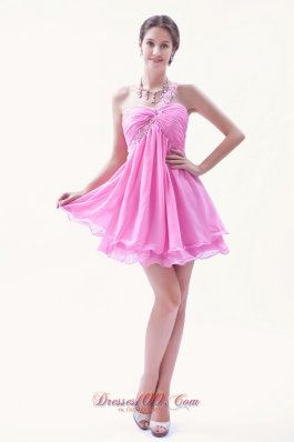 Rose Pink Beading Prom Dress One Shoulder Mini