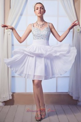 Beading Homecoming Dress Empire Mini White