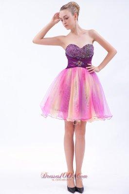 Cocktail Dress Multi-color Mini Beaded Sweetheart