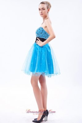 Sky Blue Beading Mini Black Prom Dress