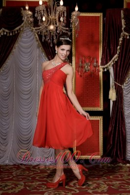 Red Empire Prom / Homecoming Dress Beading Tea-length