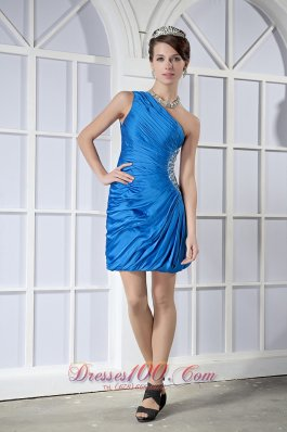 Sky Blue Column One Shoulder Mini Beading Prom Nightclub Dress