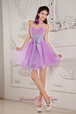 Lavender A-line Prom / Homecoming Dress Mini