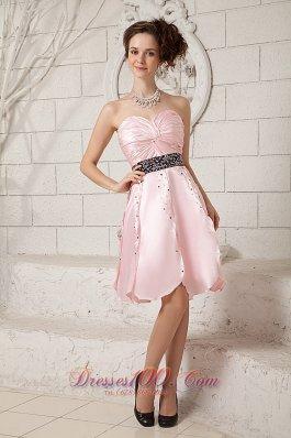 Baby Pink Short Homecoming Dress Black Sash Beading