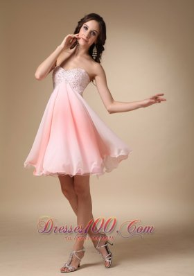 Beading Graduation Homecoming Dress Pink Mini Sweetheart
