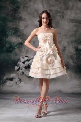 Champagne Empire Mother Bride Dress Floral Trimmed